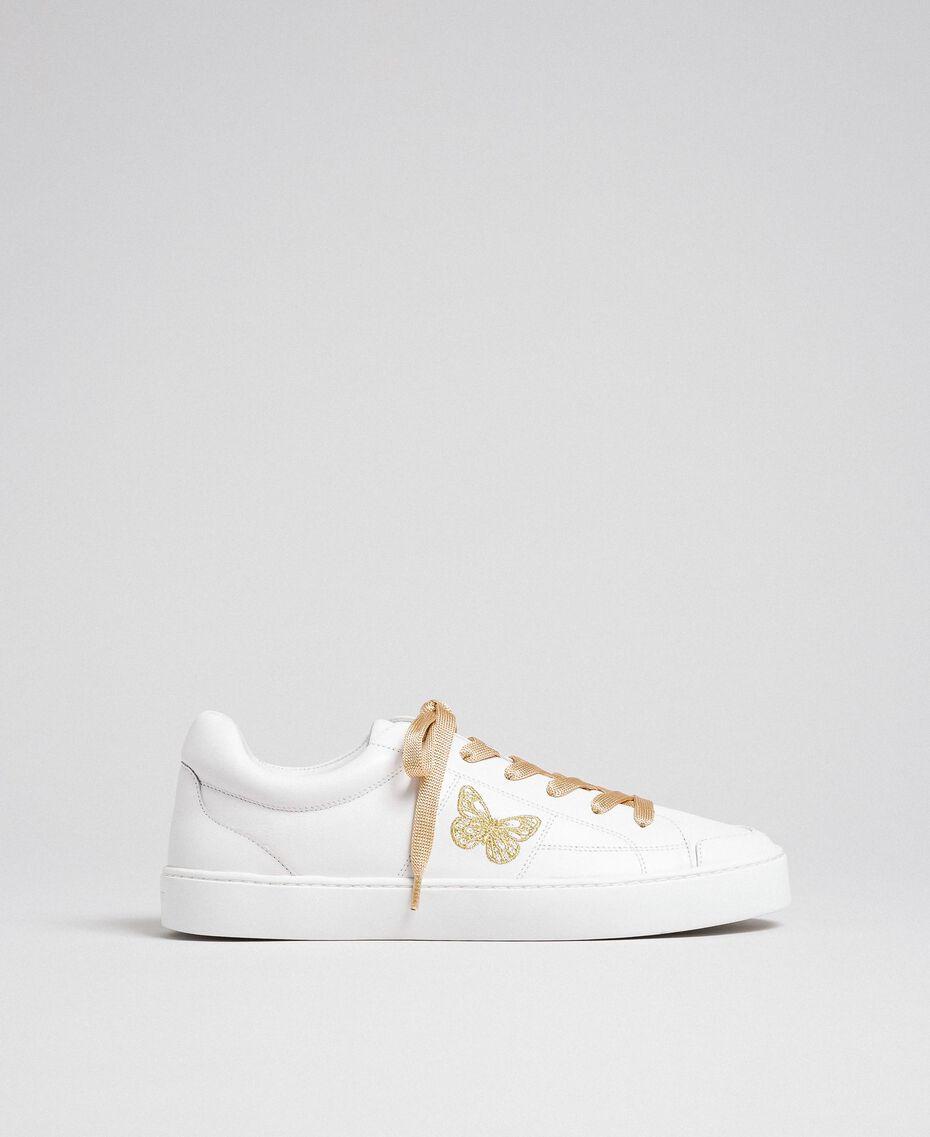 Sneakers in pelle con ricamo a farfalla Bianco Donna 192TCP06A-03