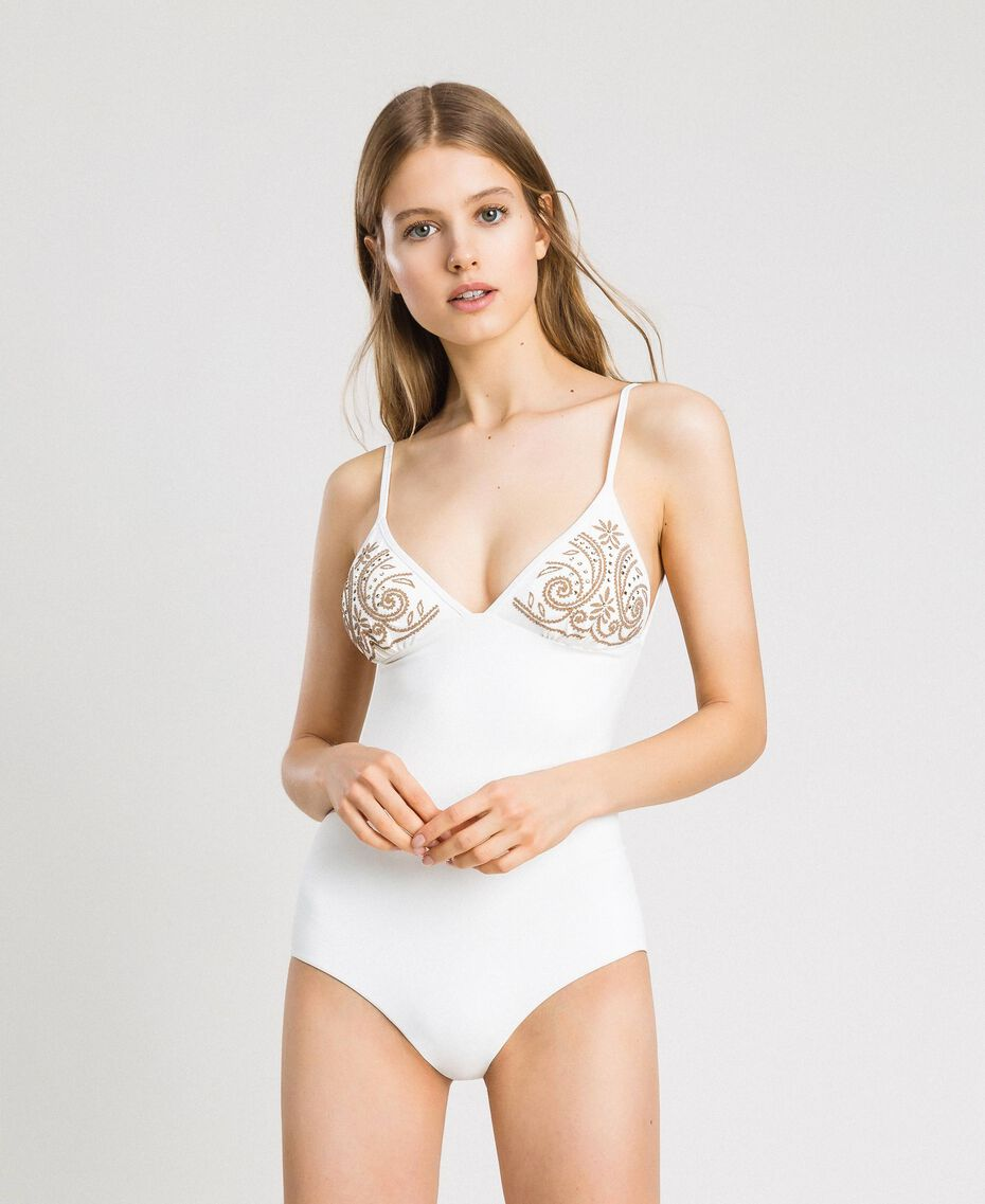 One-piece swimsuit with rhinestones Ivory Woman 191LMMR00-0S