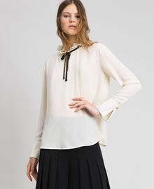Crêpe de Chine blouse with flounce Vanilla White Woman 192MP2160-05
