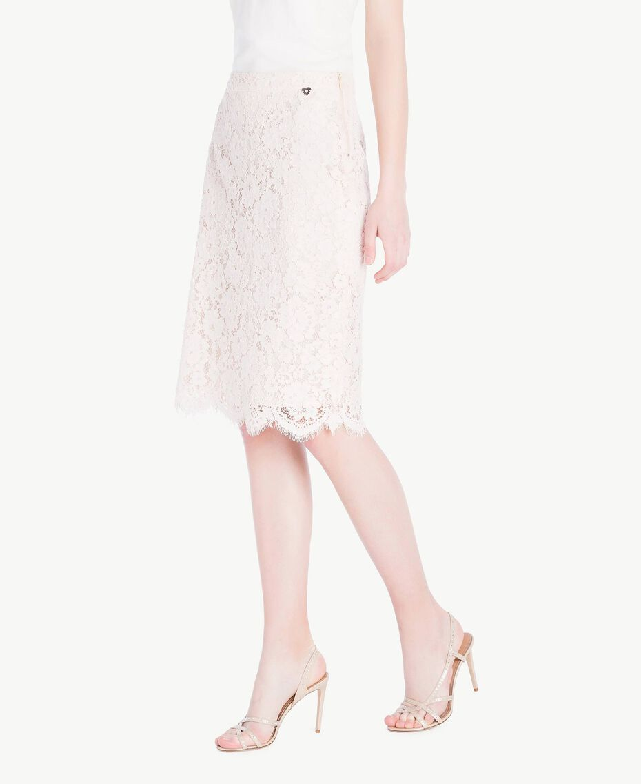 Mid-length lace skirt Pale Ecru Woman PS82XB-02
