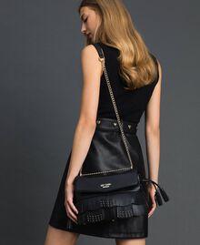 Borsa a tracolla in similpelle con frange e borchie Nero Donna 192MA7021-0S