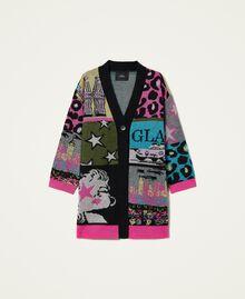 Jacquard wool blend cardigan Purple Berry Picture Jacquard Mix Woman 212AP3132-0S