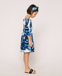 Kleid mit tropischem Print Print Tropical Tupfen Grün Kind 201GJ2302-02