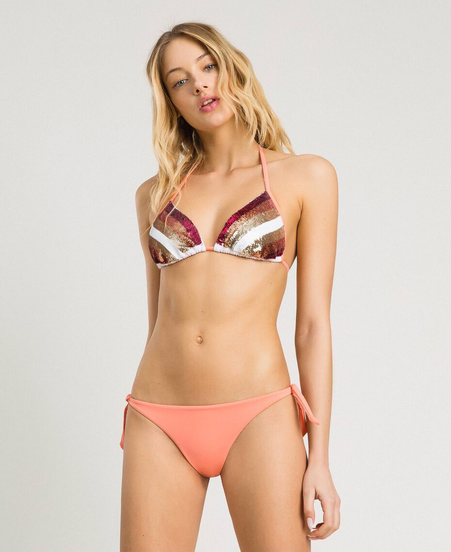 """Triangle bikini top with stripes and sequins Pink / """"Tangerine Cream"""" Pink Multicolour Striping Woman 191LBMA33-0S"""