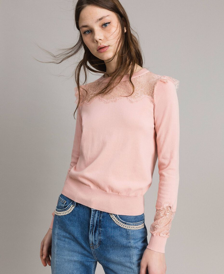 Top with lace details Pink Pearl Woman 191TP3031-01
