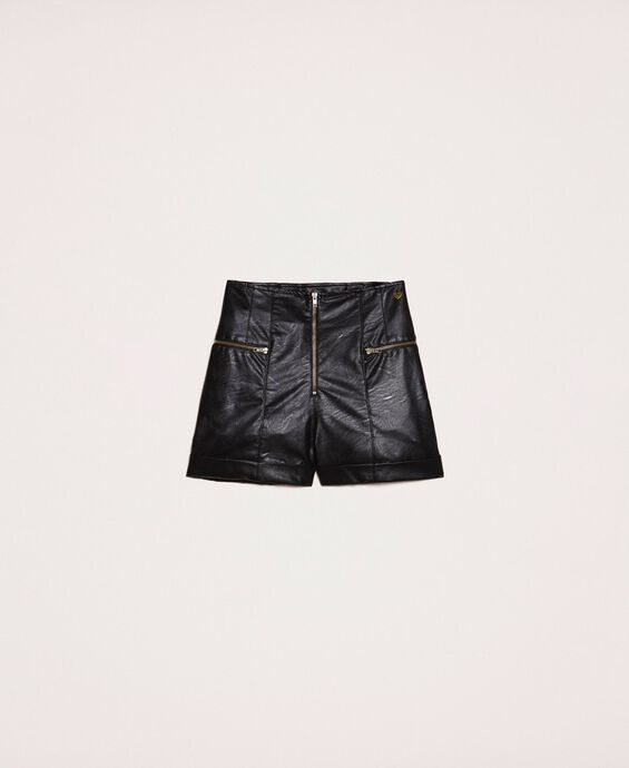 Faux leather shorts with zip