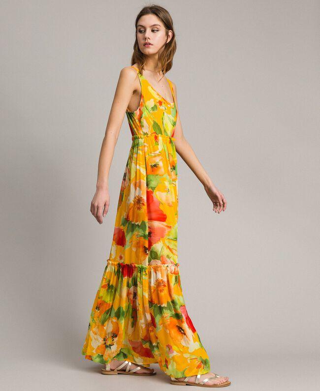 Georgette-Maxikleid mit Blumenmuster Motiv Gelbe Macro Blumen Frau 191TT2480-03