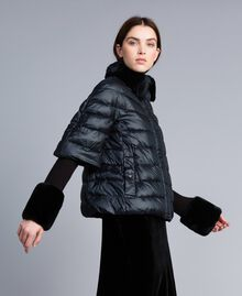 Doudoune courte en nylon brillant Noir Femme TA82C2-03