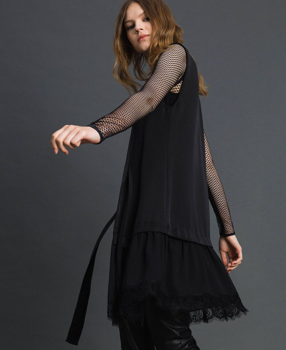 Bow dress with lace flounce Black Woman 192MP2351-05