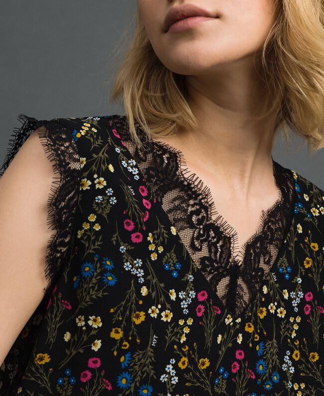 Top avec imprimé floral et dentelle Imprimé Petites Fleurs Noir Femme 192MP222A-04