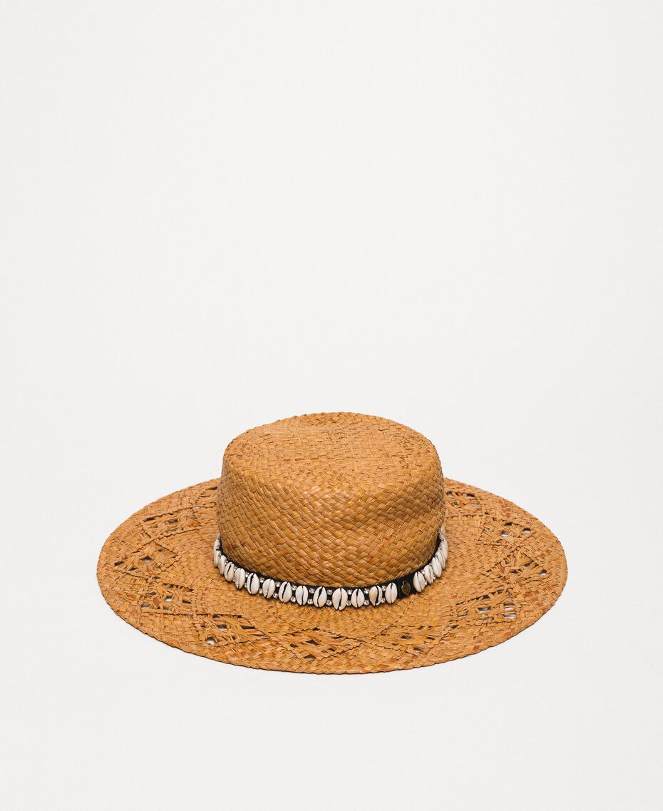 Straw hat with shells and rhinestones Black Woman 201TO5401-02