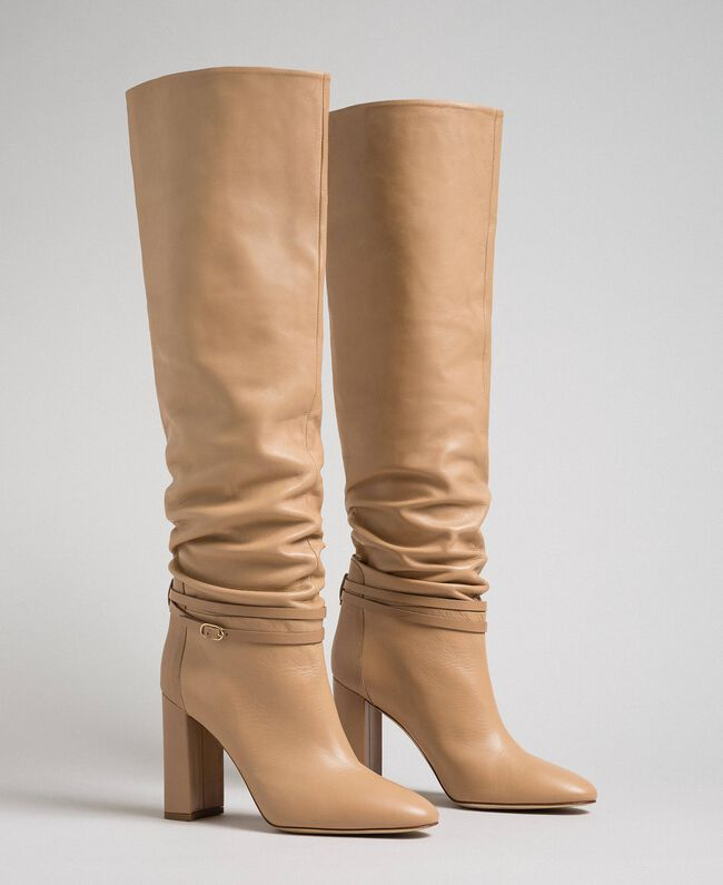"""Leather thigh-high boots with strap """"Nude"""" Beige Woman 192TCP106-01"""