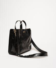 Cabas moyen en cuir avec logo Jaune Lime Femme 201TO8091-03