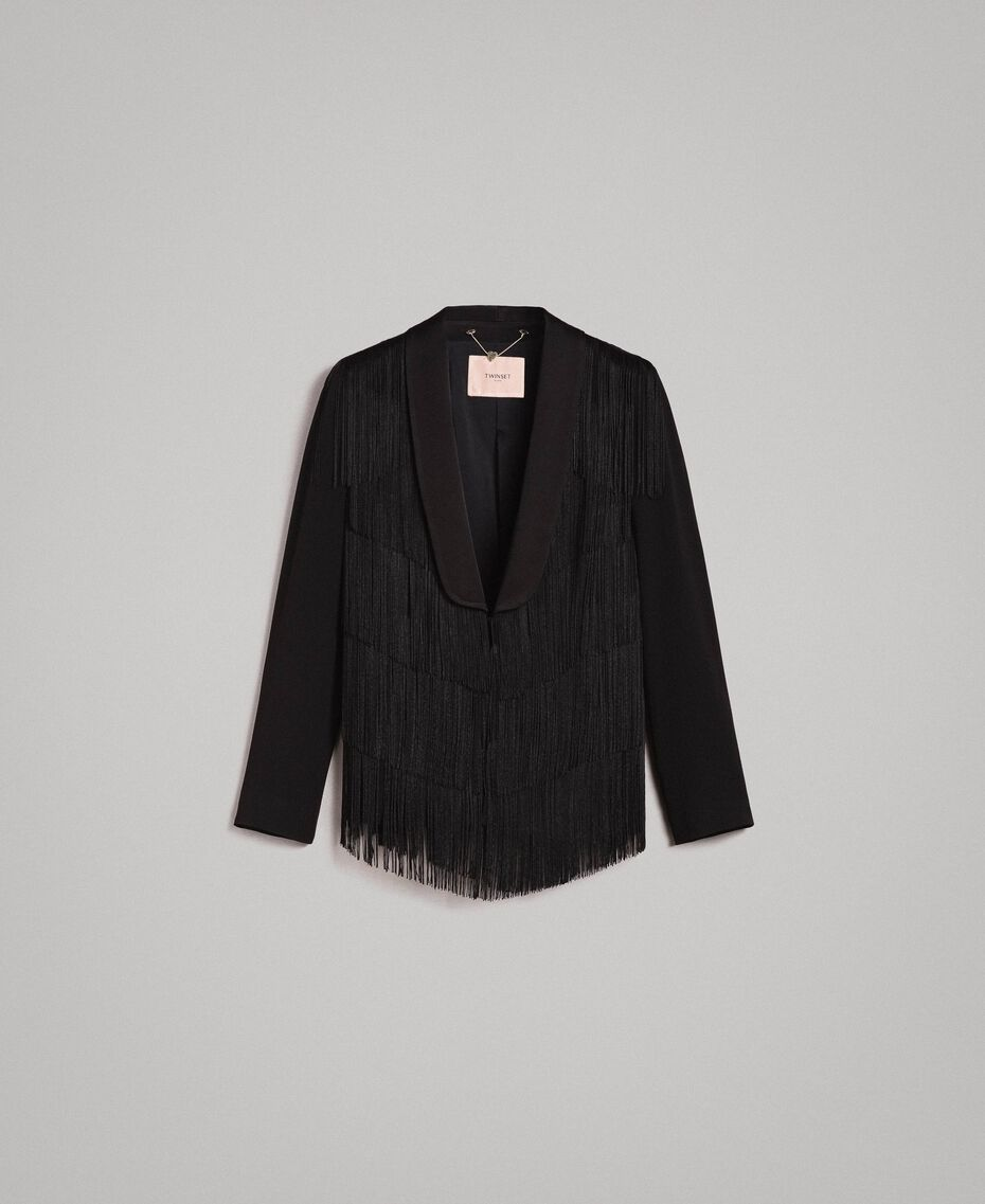 Blazer with fringes Black Woman 191TT2380-0S