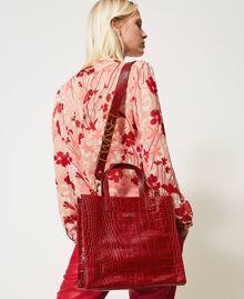 Medium leather Twinset Bag shopper Black Crocodile Print Woman 202TB7113-0S