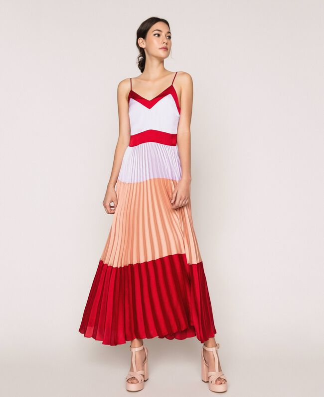 "Pleated satin long slip dress Multicolour ""Lava"" Red / ""Ballerina"" Purple / Nude Pink Woman 201TP2310-01"