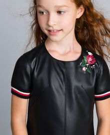 "Embroidered faux leather mini dress Bicolour Black / ""Poppy"" Red Child GA82B2-04"