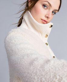 Bomber en laine mélangée bouclée Blanc Femme IA87DD-04