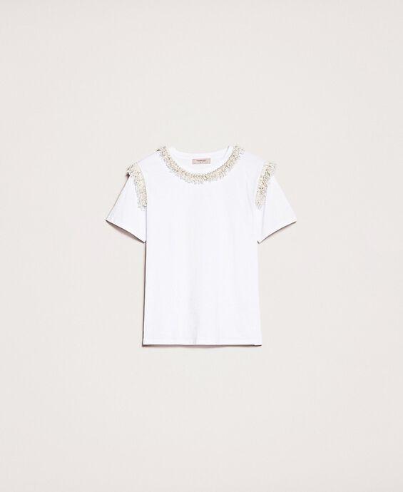 T-shirt à franges brodé de perles