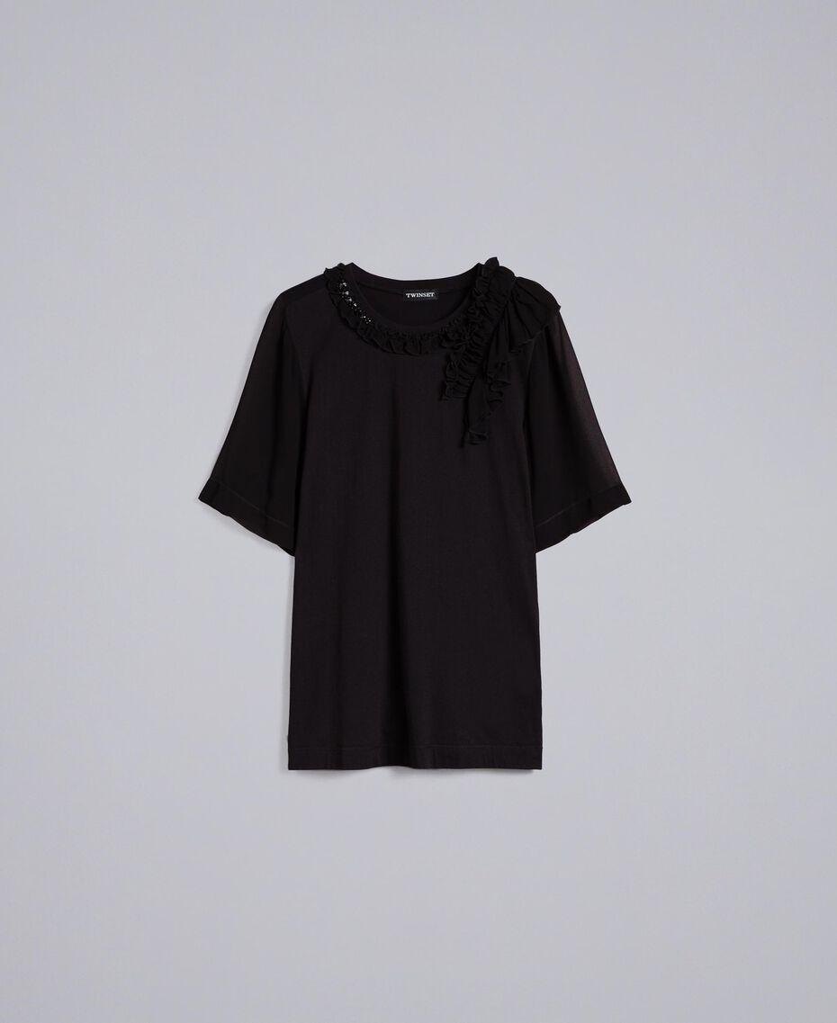 Maxi t-shirt en jersey avec ruches Noir Femme PA82DE-0S