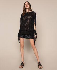 Maxi pull en dentelle filet avec franges Noir Femme 201TT3011-0T