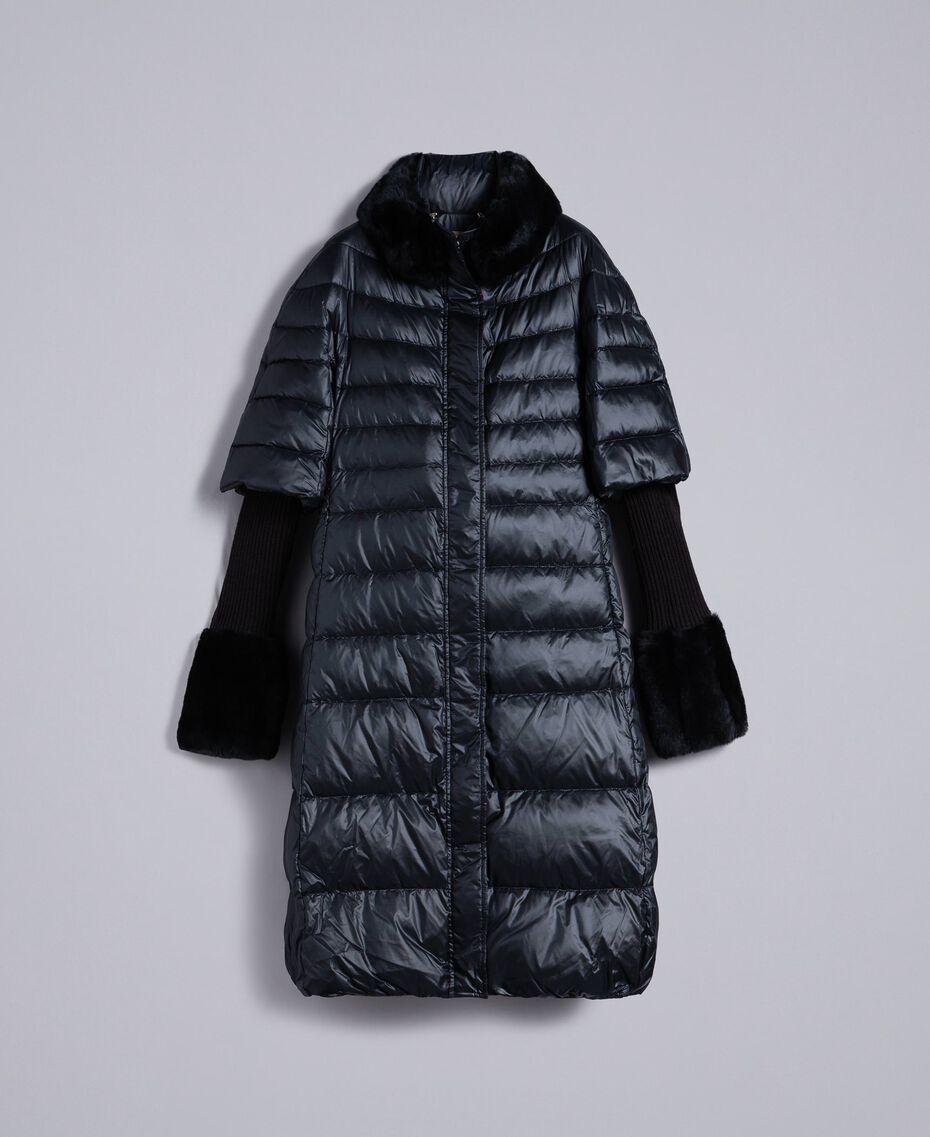 Long shiny nylon padded jacket Black Woman TA82C1-0S