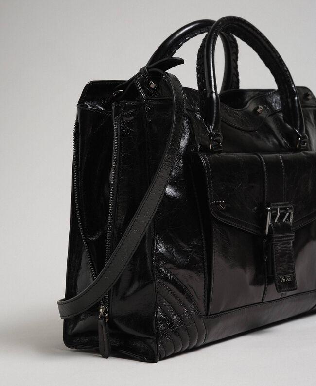 Sac cabas en cuir avec boucle décorative Noir Femme 192TO7235-01