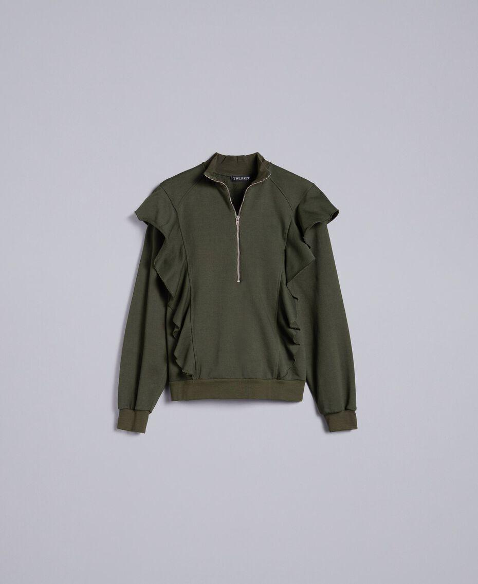 Sweatshirt aus Baumwolle mit Rüschen Waldgrün Frau TA82ZC-0S