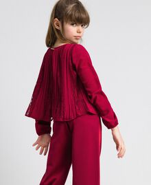 Pleated crêpe and lace blouse Ruby Wine Red Child 192GJ2520-03