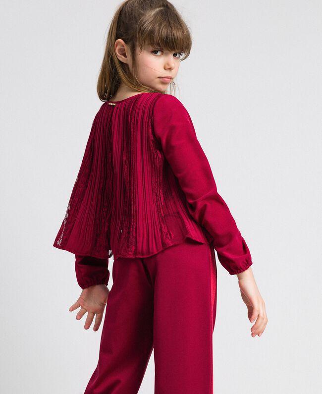 Blouse en crêpe plissé et dentelle Rouge Ruby Wine Enfant 192GJ2520-03