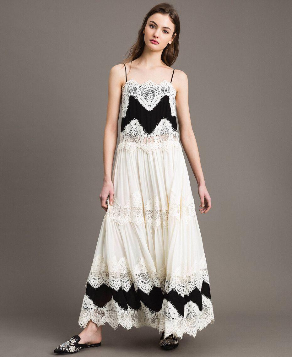 Robe longue en georgette agrémentée de dentelle Bicolore Blanc Neige/ Noir Femme 191TT2100-02