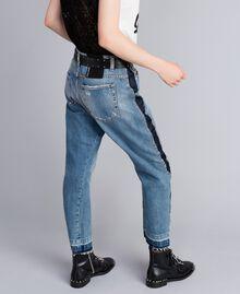 Jeans aus Denim mit Seitenstreifen Denimblau Frau JA82ZC-03