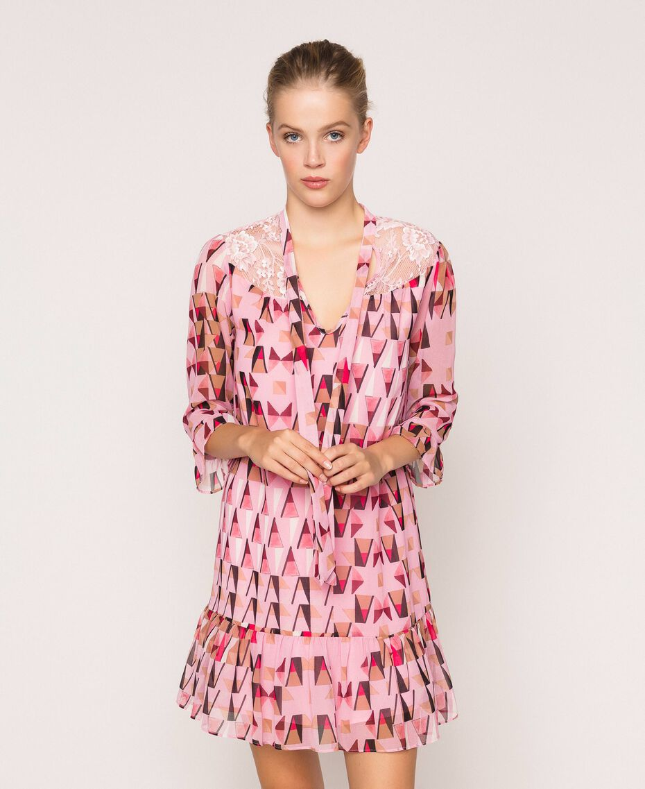 """Printed georgette dress with lace """"Candy"""" Pink Geometric Print Woman 201ST2180-01"""