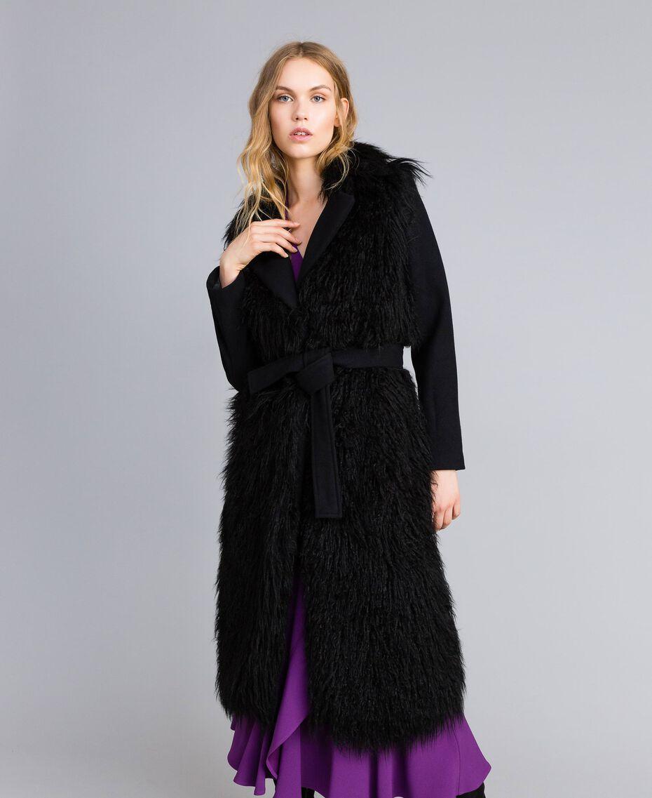 Manteau long en drap et fausse fourrure Noir Femme TA82A5-02