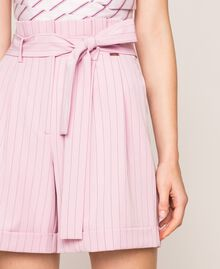 "Pin stripe shorts with belt ""Candy"" Pink Pin Stripe Jacquard Woman 201ST2082-05"