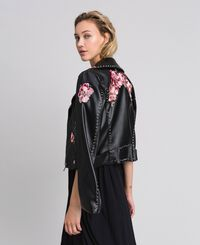 Faux leather biker jacket with embroidery