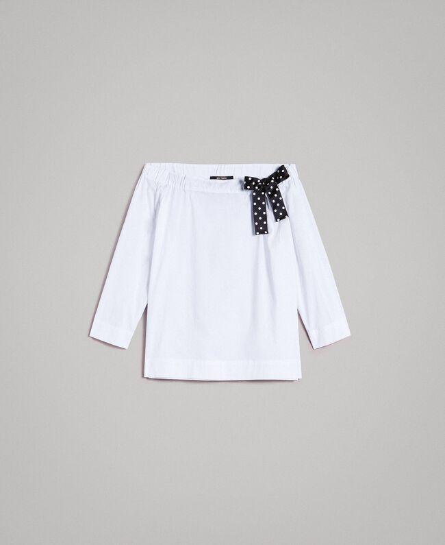 Blouse en popeline avec cordon Crème White Femme 191MP2196-0S