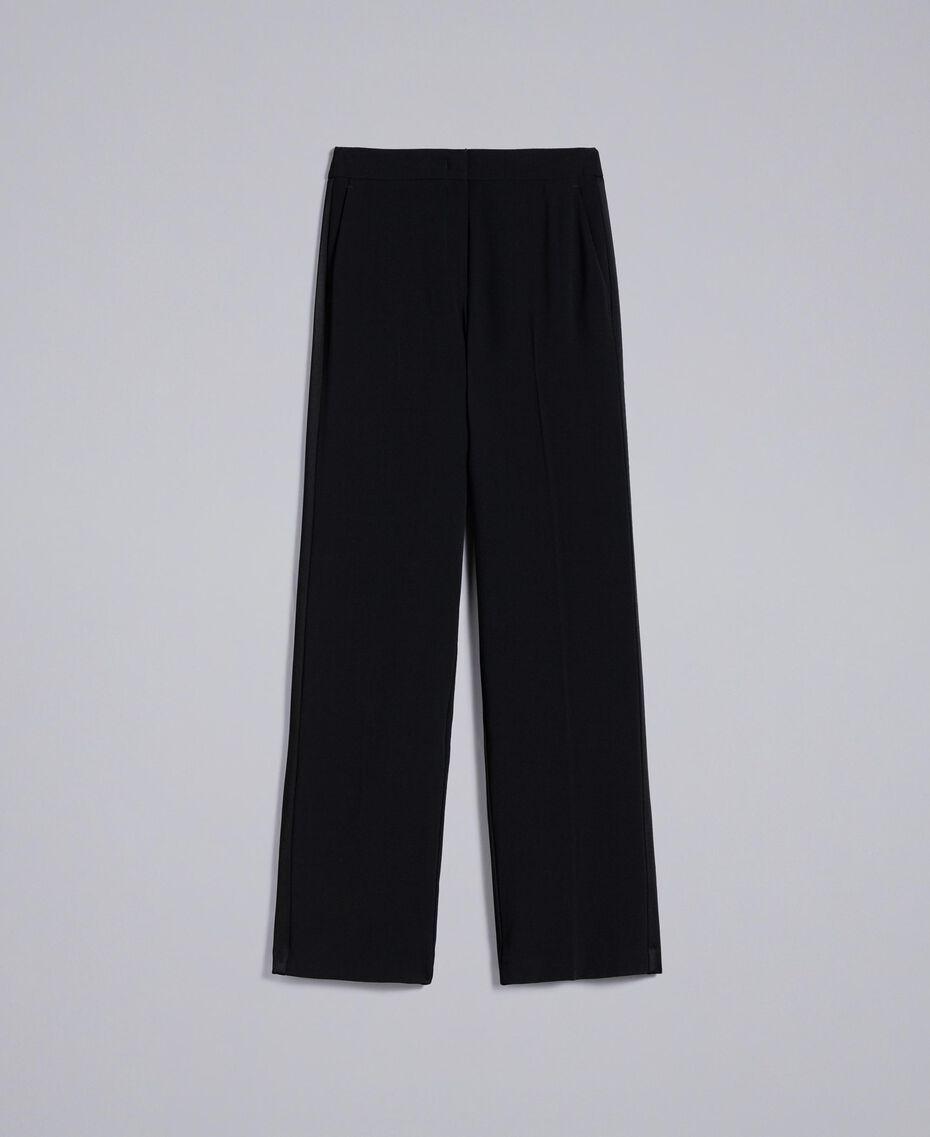 Pantaloni a palazzo in envers satin Nero Donna QA8TGP-0S