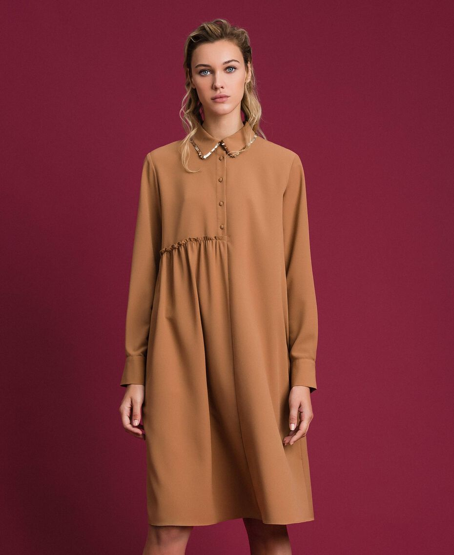 "Sequin shirt dress ""Sequoia"" Beige Woman 192ST209C-01"