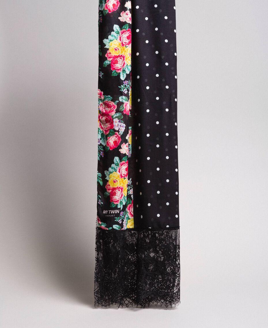 Écharpe en viscose avec imprimé et dentelle Bicolore Imprimé Fleur Noir / Noir Femme 191MA4308-02