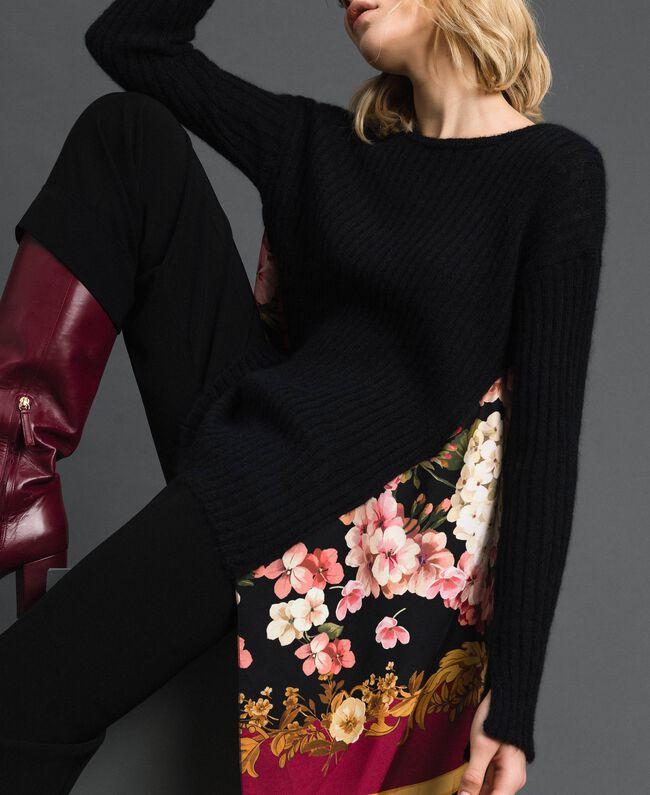 Pullover aus Mohair und bedrucktem Twill Schwarz / Foulardprint Frau 192TP3062-03