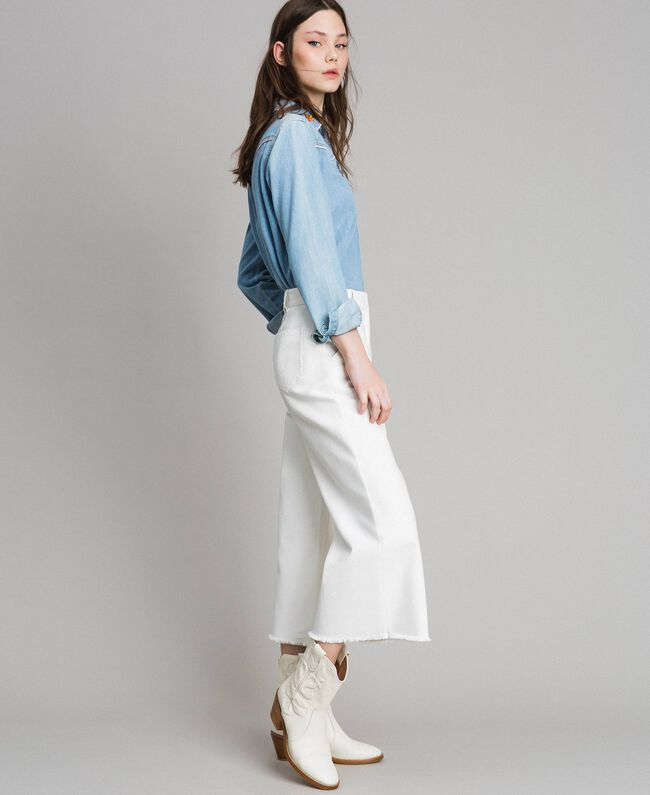 Weite Hose aus Baumwolle Weiß Schnee Frau 191TP2191-01