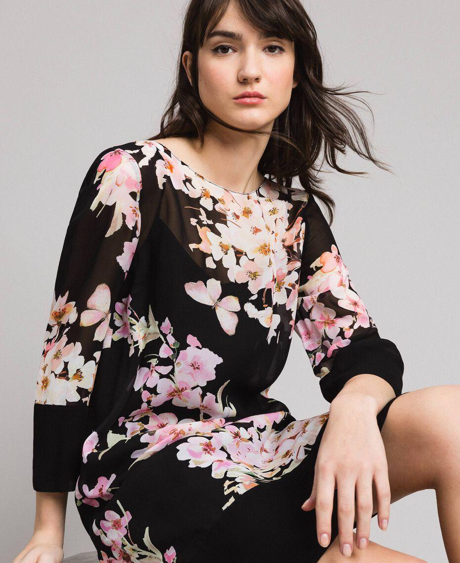 """Tunikakleid aus Georgette mit Blumenmuster Motiv """"Peach Flowers"""" Pink Schwarz Frau 191TP271B-05"""