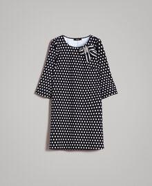Kleid mit Tupfenmuster und Schleifenbrosche Zweifarbig Schwarz / Weiß Frau 191MP2361-0S