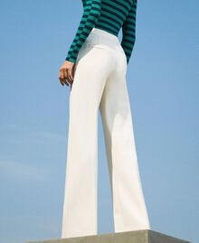 Trousers with crêpe de Chine finishes Creamy White Woman 202MP2292-03