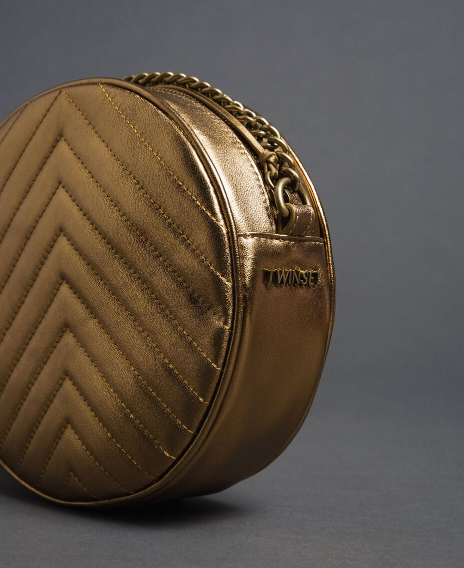 Runde Umhängetasche aus Leder Dunkles Gold Frau 192TO810F-03