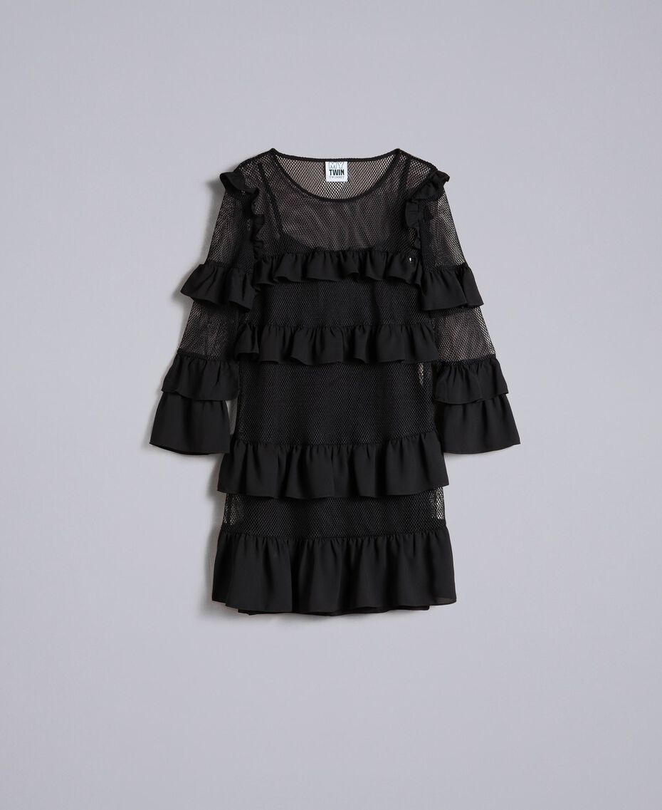 Kleid aus Netzstoff mit Volants Schwarz / Schwarz Frau JA82HP-0S