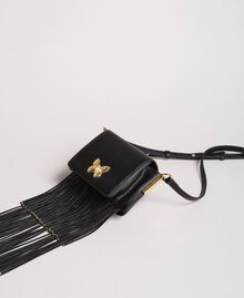 """Leather Bea shoulder bag with fringes """"Marzipan"""" Beige Woman 191TO8231-01"""