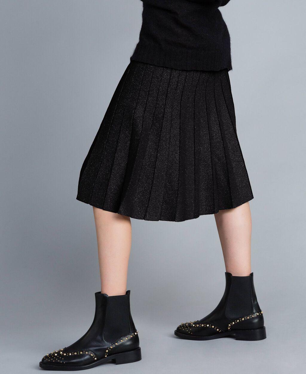 76c545334 Falda midi de punto plisado de lúrex Mujer, Negro   TWINSET Milano