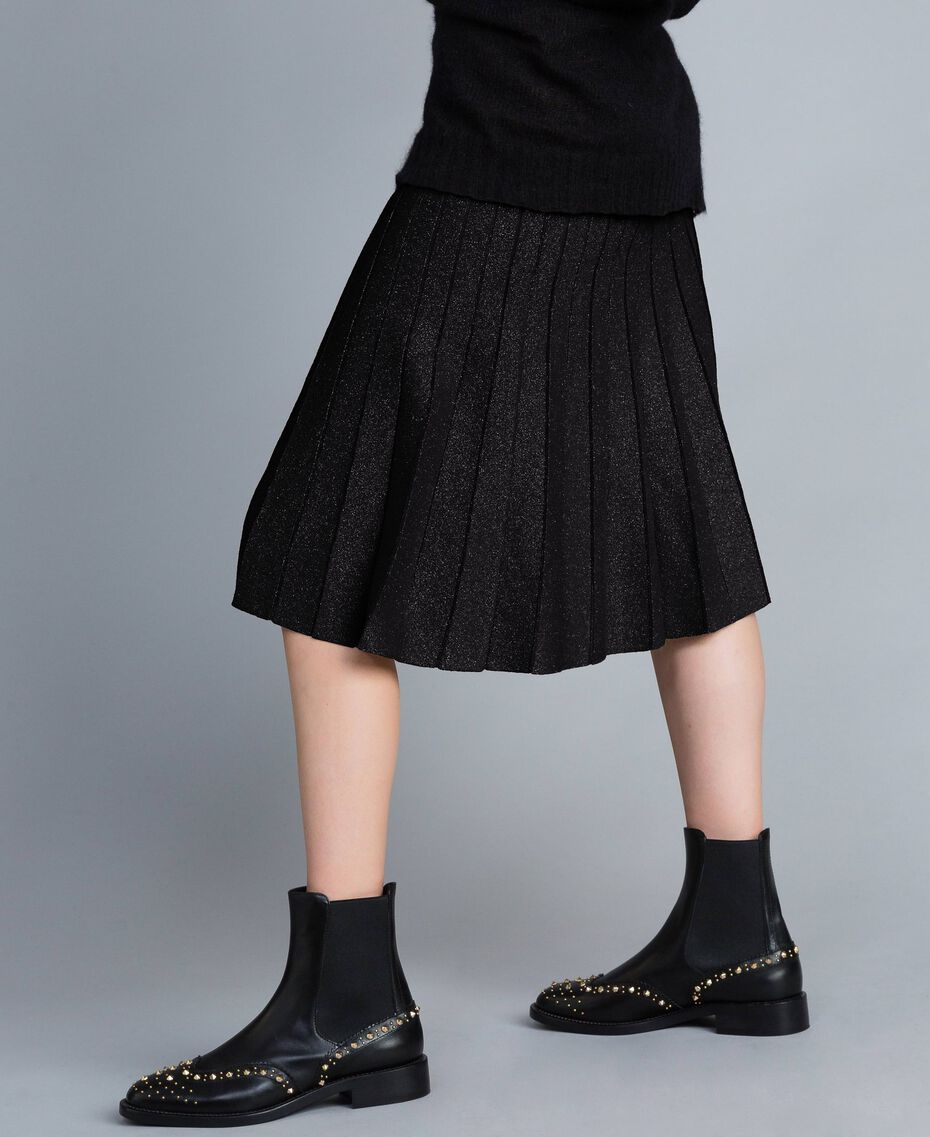 Knitted lurex pleated mid-length skirt Black Lurex Woman PA83CD-02